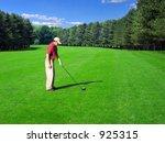 golfer prepares a fairway shot... | Shutterstock . vector #925315