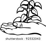 hand and plant | Shutterstock .eps vector #92532043