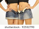 2 friends with unbuttoned mini... | Shutterstock . vector #92532790