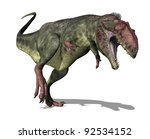 The Giganotosaurus dinosaur lived in South America during the Late Cretaceous Period - 3D render. - stock photo