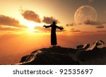 a silhouette of a priest in a... | Shutterstock . vector #92535697