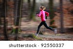 young woman running outdoors in ... | Shutterstock . vector #92550337