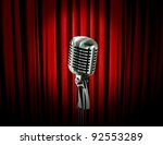 retro microphone and red curtain | Shutterstock . vector #92553289