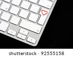 white keyboard with red heart... | Shutterstock . vector #92555158
