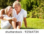 happy young couple outdoors. | Shutterstock . vector #92564734