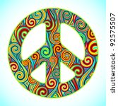 illustration of peace sign made ... | Shutterstock .eps vector #92575507