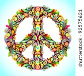 illustration of peace sign made ... | Shutterstock .eps vector #92575621