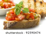 fresh bruschetta with tomato ... | Shutterstock . vector #92590474