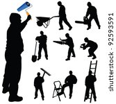 workers in various trades and... | Shutterstock .eps vector #92593591