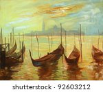 gondolas on landing stage in venice. painting by oil paints on a canvas, an illustration - stock photo