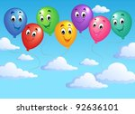 blue sky with inflatable... | Shutterstock .eps vector #92636101