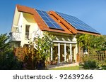 house with garden and solar... | Shutterstock . vector #92639266