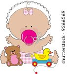 a baby girl with a huge... | Shutterstock .eps vector #9266569