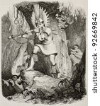 Small photo of Brazilian Coroado indian playing fight signal old engraved portrait (tribe afterwards exterminated by land grabbers) . Created by Debret, published on Magasin Pittoresque, Paris, 1845
