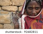 portrait of a india rajasthani... | Shutterstock . vector #92682811