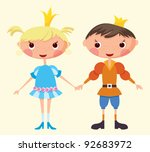 cartoon prince and princess ... | Shutterstock .eps vector #92683972