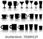 vector set of cups, mugs, wineglasses - stock vector