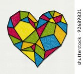 Colorful Heart Sketch Stain...
