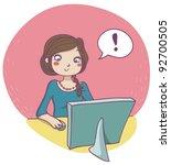 woman at computer. vector | Shutterstock .eps vector #92700505
