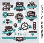 Stock vector vector set of retro labels buttons and icons 92712934