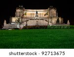 The Victor Emmanuel II monument at night. - stock photo