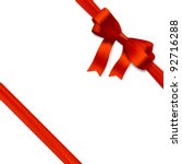 red gift bow with ribbon.... | Shutterstock .eps vector #92716288