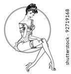 pin up classic sexy girl   Shutterstock .eps vector #92719168