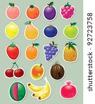 set of fruit stickers | Shutterstock .eps vector #92723758
