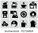 vector black coffee shop icons...
