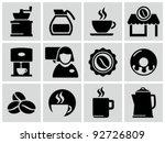 vector black coffee shop icons...