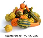 Bunch Of Gourds Of Different...