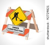 under construction road sign | Shutterstock .eps vector #92729821