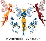 Isolated elegant silhouettes graceful fairies dancing among flowers on a white background. Ornate flowers on a background surrounded persons.  for a stylish and luxury designs and for fantasy designs.