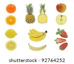 fruit isolated on white whole... | Shutterstock . vector #92764252
