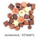 delicious chocolate pralines , isolate on white background - stock photo
