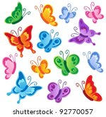 Stock vector various butterflies collection vector illustration 92770057
