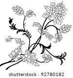 the black outline flower... | Shutterstock .eps vector #92780182