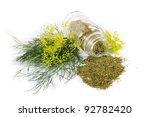 Glass Bottle With Dill On Whit...