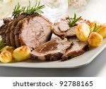 roast of veal with potatoes   Shutterstock . vector #92788165