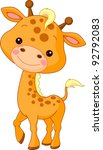 Stock vector fun zoo illustration of cute giraffe 92792083