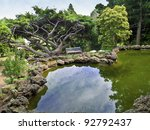 """""""Ornamental Pond View"""" A Japanese style landscaped ornamental garden with pond and various evergreen trees and stone. - stock photo"""