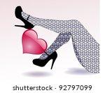 two female legs holds red heart.... | Shutterstock .eps vector #92797099