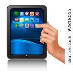 a hand holding digital tablet... | Shutterstock .eps vector #92818015