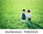 two children going in spring... | Shutterstock . vector #92820310