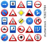 road signs set on a white... | Shutterstock .eps vector #92827984