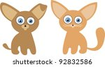 Stock vector cute little puppy and kitten illustration looking at camera with big funny ears 92832586