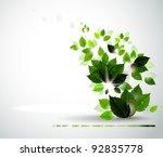 summer branch with fresh green... | Shutterstock .eps vector #92835778