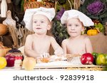 siblings cooking in chef's hats | Shutterstock . vector #92839918