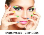 woman face with rainbow makeup... | Shutterstock . vector #92840605