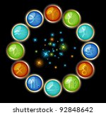 zodiac symbols with starry light | Shutterstock .eps vector #92848642